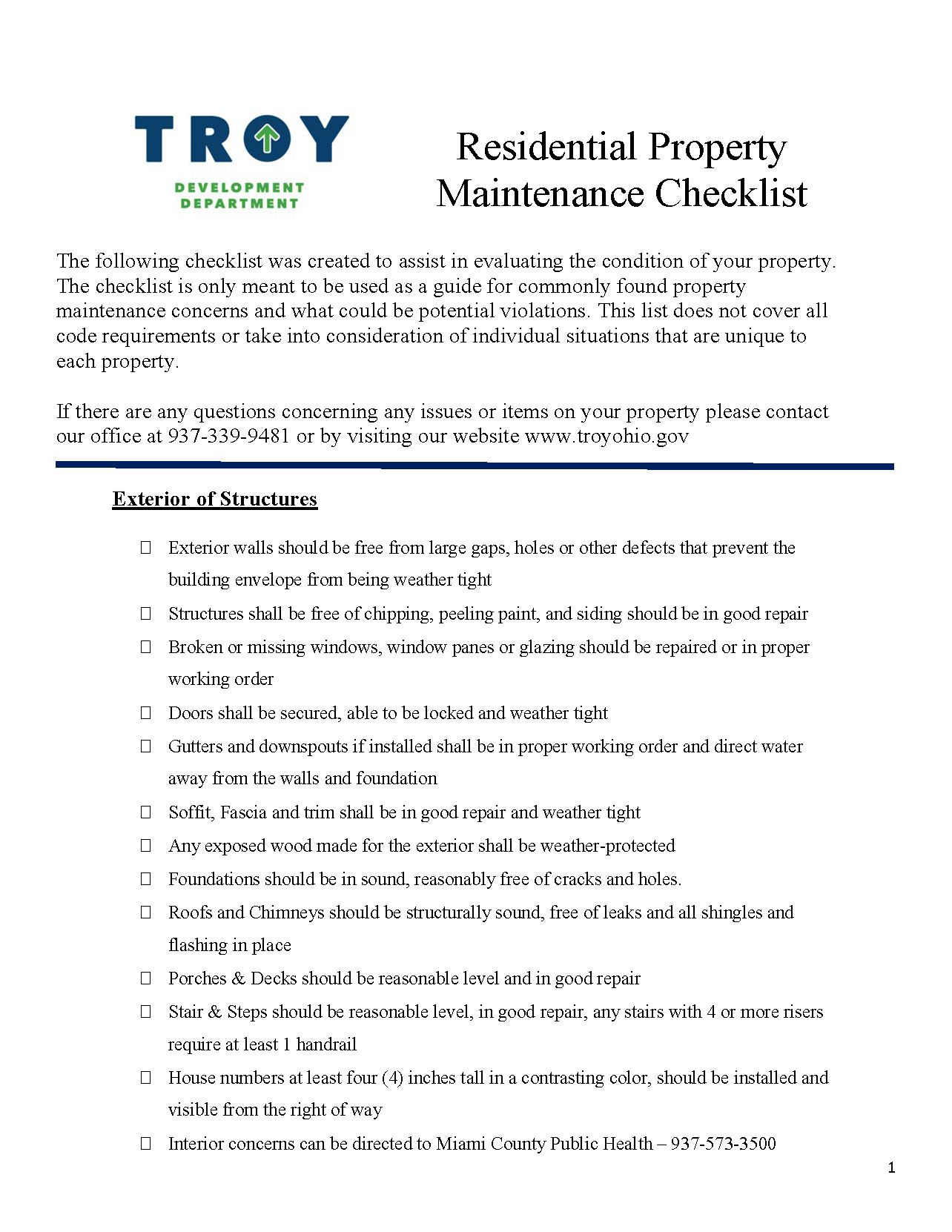 City of Troy Property Maintenance Checklist_202006051501176654 (1)_Page_1