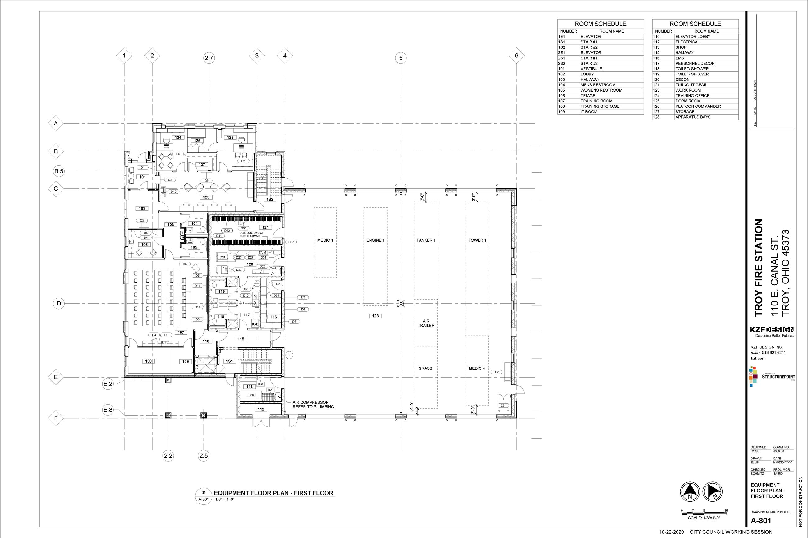 688600_A-801 - EQUIPMENT FLOOR PLAN - FIRST FLOOR_revised apparatus layout